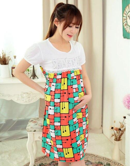 ff002b00b Vestido de algodón del color del contraste de la mujer embarazada Vestidos  de Maternidad del verano