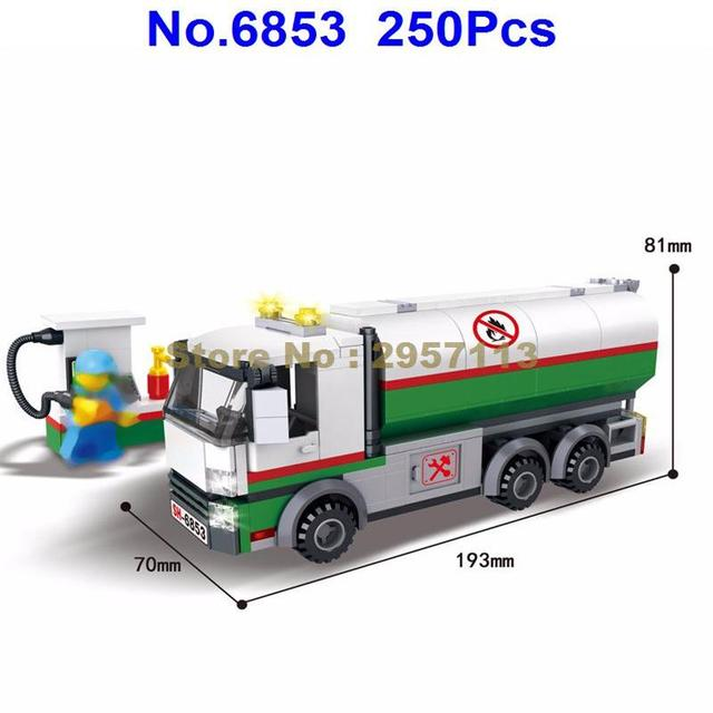 6853 250pcs City Engineering Oil Tanker Tank Truck Building Block Brick Toy