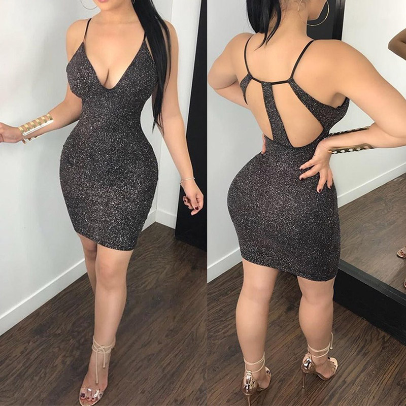 <font><b>Fashion</b></font> Spaghetti Straps V-Neck Backless <font><b>Sexy</b></font> Sheath Dress <font><b>2018</b></font> <font><b>Women</b></font> Metallic <font><b>Bodycon</b></font> <font><b>Elegant</b></font> <font><b>Fashion</b></font> Evening Party Dresses image