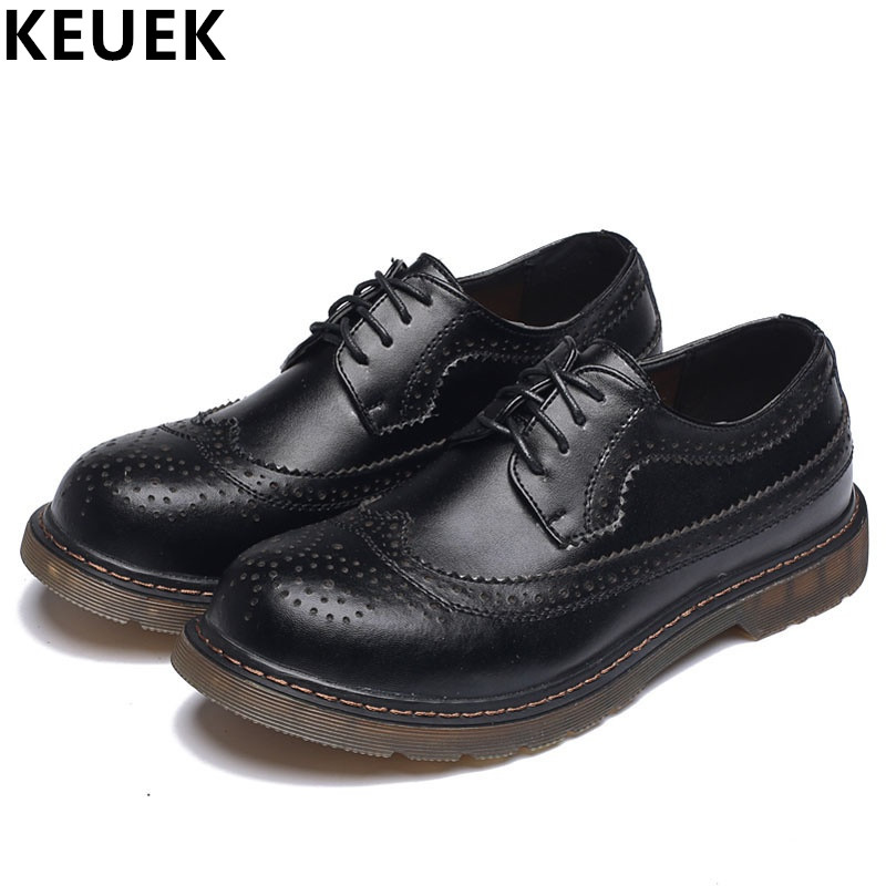 Spring Autumn Vintage Men Brogue Shoes Genuine Leather Breathable Derby Shoes Casual Outdoor Shoes Men Flats 033