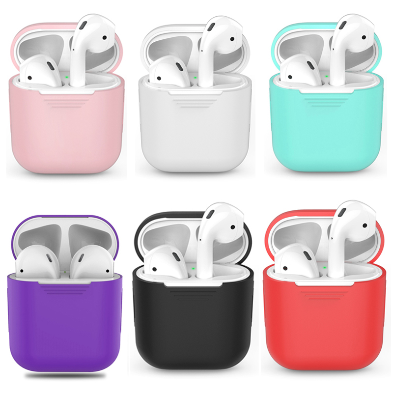 Soft Silicone Case For Apple Airpods Shockproof Cover For Apple AirPods Earphone Cases Ultra Thin Air Pods Protector Case pote retratil silicone vermelho