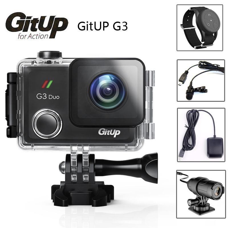 "Gitup G3 Duo Git3 WiFi 2K 2160P Action Camera 2"" Touch Screen GYRO 170 degree Wrist Remote Control GPS Slave Camera External MIC-in Sports & Action Video Camera from Consumer Electronics    1"