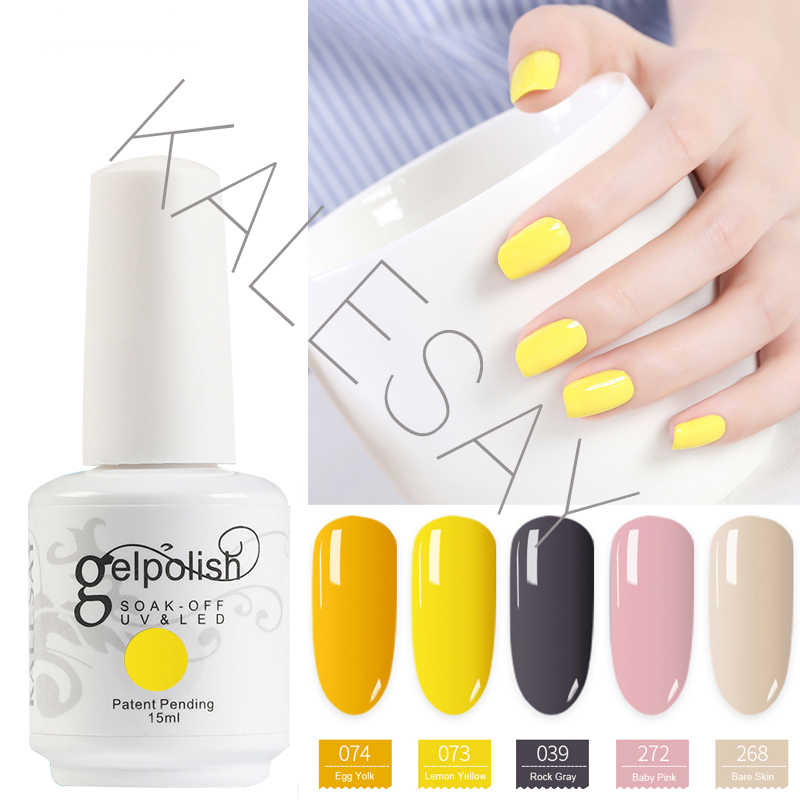 2019 Baru 15 Ml Rendam Off Uv Gel Cat Kuku Warna Kuning Gel Polandia Gellak Hybrid UV Semi Permanen Gelpolish esmalte Gel Varnish