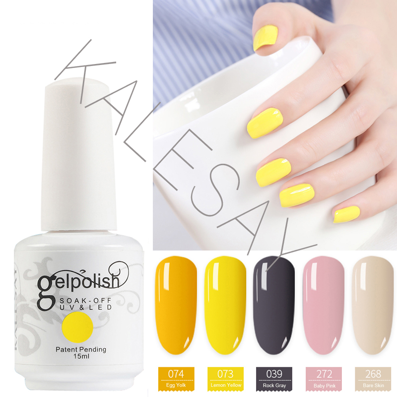 2018 Nouveau 15 ml Gel de vernis à ongles Soak Off UV Couleurs Gel de gel jaune GelLak hybride UV Gel de vernis semi permanent Gel Esmalte