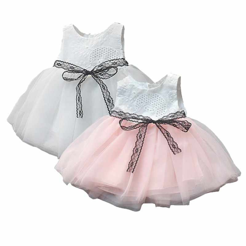Baby Girls Vest Princess Dress Sleeveless Girls Lace Baby Dresses Girl Party Dress Bow-tie Birthday Tutu Dresses Girls