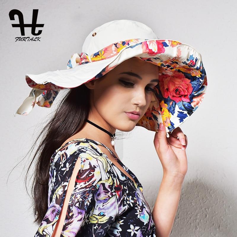 FURTALK Chapéus de Verão para As Mulheres Mulheres de Design de Moda Praia  Chapéu de Sol com Aba Larga Dobrável 6decc22d601