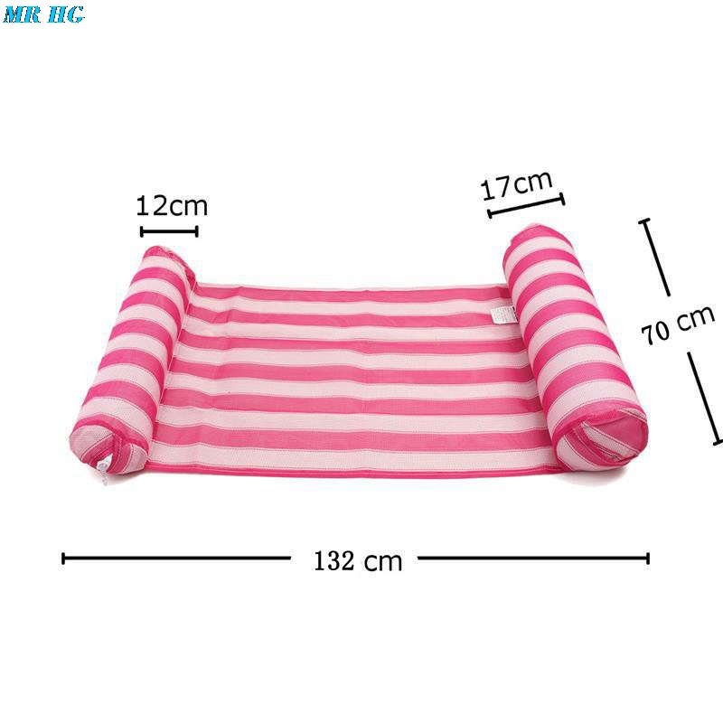 Stripe Floating Sleeping Bed Water Hammock Lounger Chair Inflatable Air Mattress Summer Holiday Swimming Pool Beach Drifter in Beach Chairs from Furniture