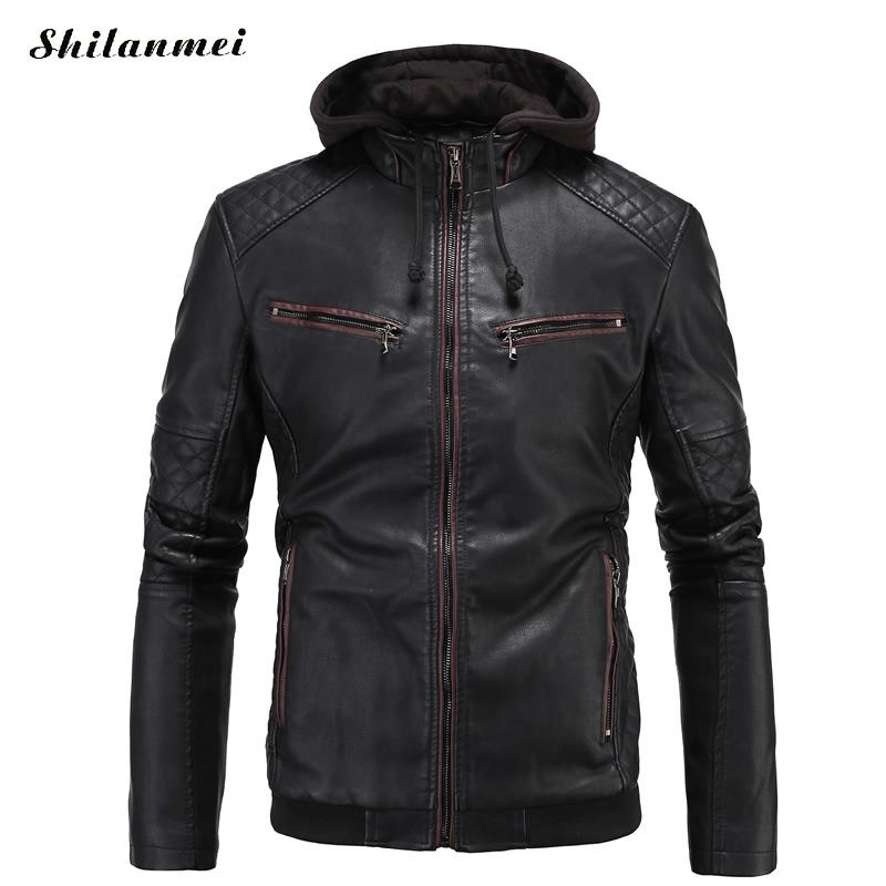 PU Leather Winter Jacket with Hooded Moto Men Printed Collar Plus Size Slim Jackets Mens Shearling Coats Chaqueta Moto Cuero 4XL