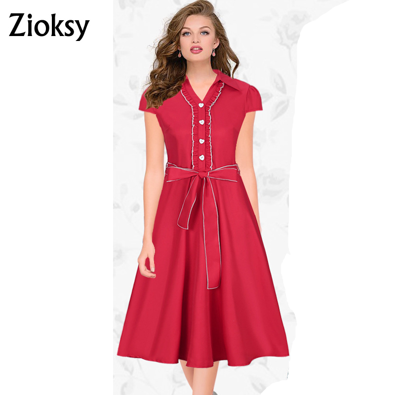 Zioksy Brand S XXL Women Dress Retro Vintage Ruffles Turn Down Collar Swing Summer Dresses Elegant