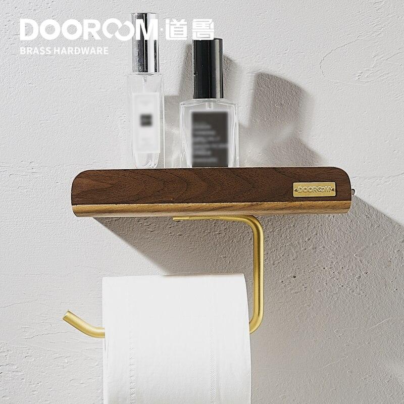 Dooroom Nordic Black Walnut Brass Wood Toilet Paper Holder Bathroom