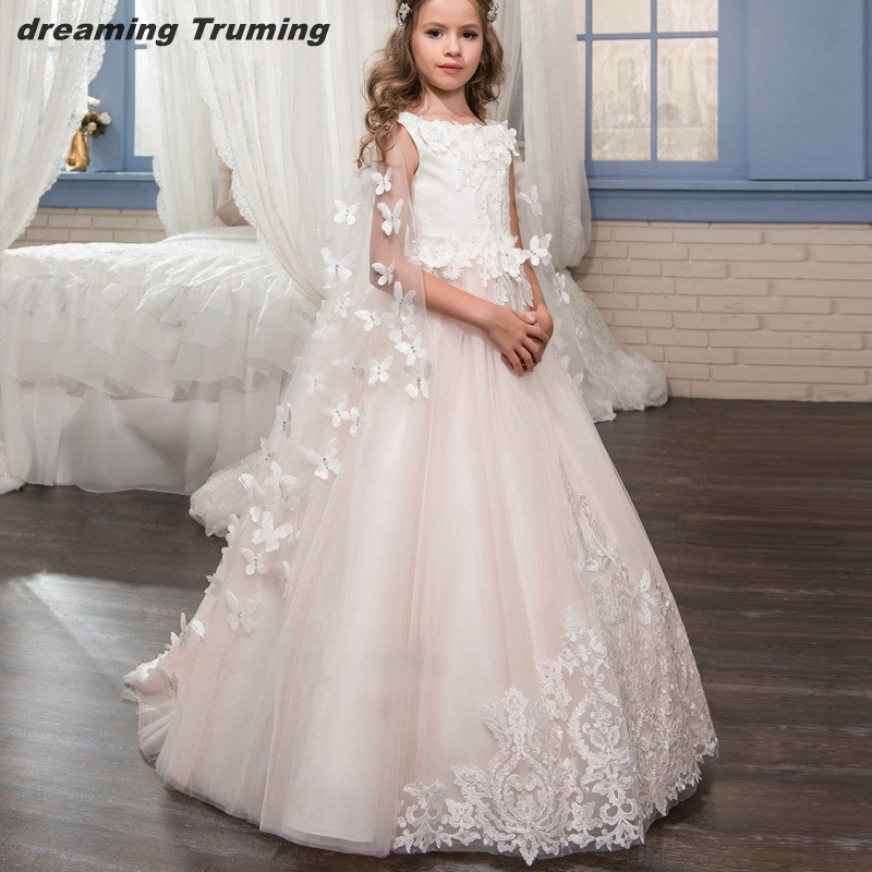 Hot Sales Blush Pink   Flower     Girl     Dresses   2019 Tulle 3D   Flower   Holy Communion   Dresses   For   Girls   Pageant Gowns vestido daminha