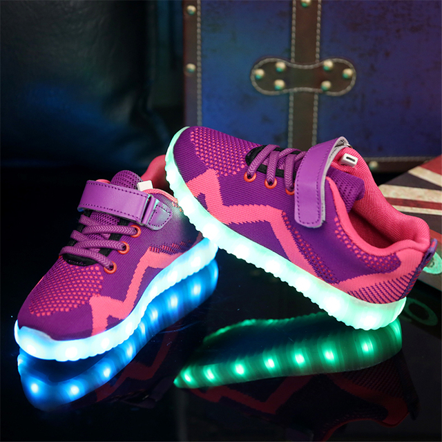 Hiver Plush 7 Couleur respirant Chaussures clignotants LED Sneakers fp5TZhfd2