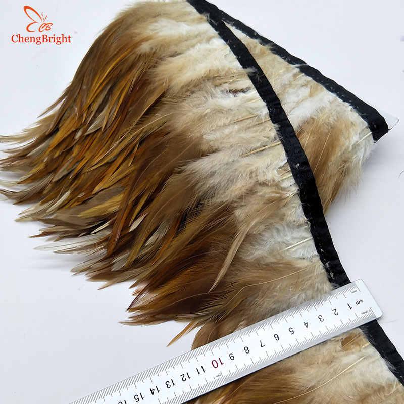 Chengvright 1 미터 10-15 cm 치킨 수탉 깃털 트림 헝겊 사이드 밴드 수탉 꼬리 깃털 트림 의류 웨딩 장식