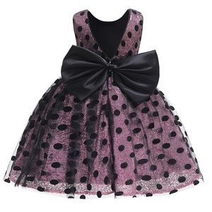New Fashion Dot Girl Dress For Baby Girls Dresses Vestidos Big Bow Wedding Party Children Clothes Birthday Clothing 1-6Years