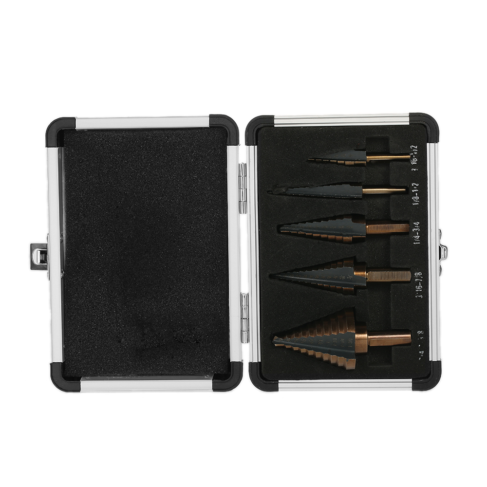 5pcs/set Professional Pagoda Drill High Quality HSS Straight Flute Stepped Drill Bits perforator woodworking tool + Storage Case pegasi high quality 5pcs 50 sizes hss