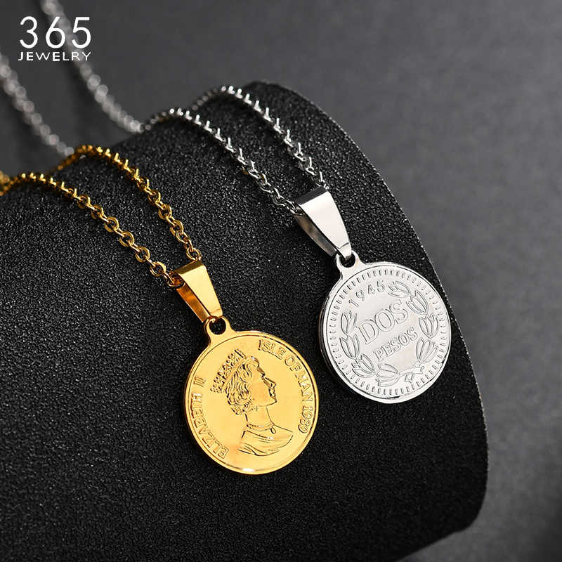 New Stainless Steel Elizabeth II Round Necklace Women Gold Color Head Portrait Coin Necklace Vintage Jewelry