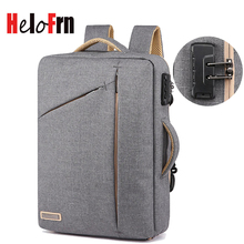 HeloFrn Business Laptop Backpack Men Anti-theft Bag Male For 15.6 Travel Password Lock Fashion Black Mochila