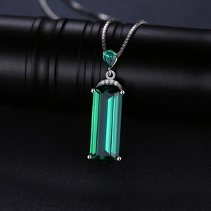 Image 2 - Jpalace Simulated Nano Emerald Pendant Necklace 925 Sterling Silver Gemstones Choker Statement Necklace Women No Chain