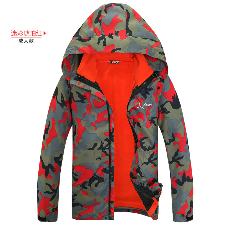 2017 Winter Man And Women Camouflage 2 Pcs Jacket+fleece Coat Set For Ski And Snowboarding Hiking Climbing Outdoor Warm Clothes men women winter waterproof mountain clothes climbing hiking overcoats thicken fleece lined warm outwear jacket coat for lovers