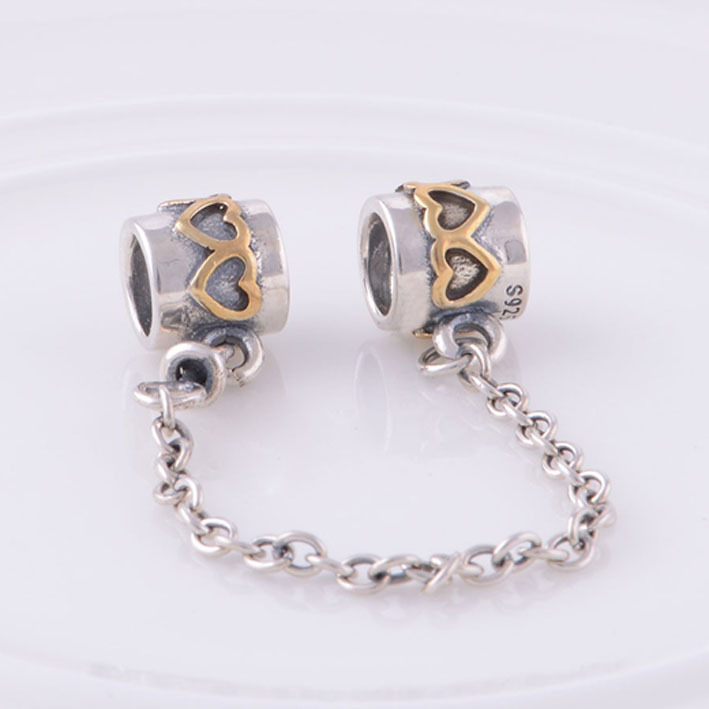 bdcc68fe3 ... new arrivals autehntic 925 sterling silver safety chain charm bead with  golden heart fits pandora charms ...