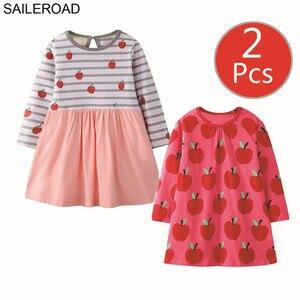 Image 1 - SAILEROAD 2 sztuk owoce jabłko drukuj dziewczyny sukienka z kieszeniami Vestidos 5 lat księżniczka dziecko sukienka dla dzieci ubrania Vestido Unicornio