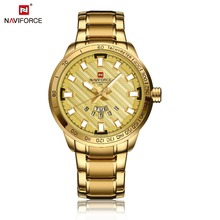 Naviforce Men's Watch Luxury Gold Stainless Steel Army Military Quartz Wristwatches relojes Clock Male Sports watch montre homme