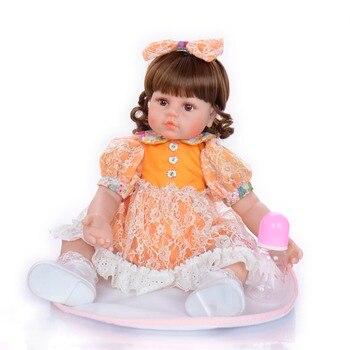 Boneca Reborn 23inch Soft Silicone Vinyl Reborn Baby Doll Girl toddler Lifelike Bebes Reborn realista Dolls