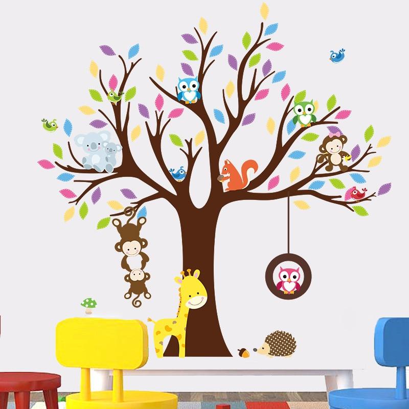 Accessoires Babykamer Uil.Aap Uil Giraffe Vogels Boom Muurstickers Voor Kinderkamer