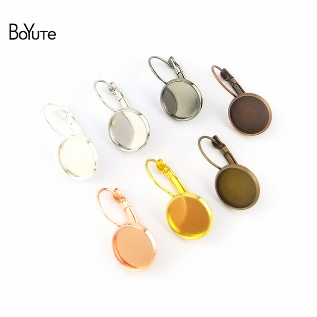 BoYuTe 50Pcs 7 Colors Round 8-10-12-14-16-18-20-25MM Cabochon Base Blank Tray Clip Earrings DIY Jewelry Findings Components