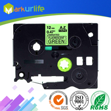 1 PCS/Lot Adhensive label Tze-D31 Tz-D31 Eye-catching Fluorescent Tape for Brother printer(12mm*5m) Fluorescent Black on Green