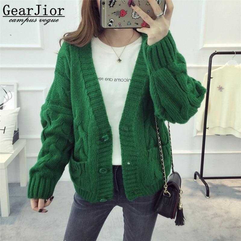 2017 new hot sale womens autumn winter short style pockets knit sweaters coats women fashion v-neck loose cardigans coat