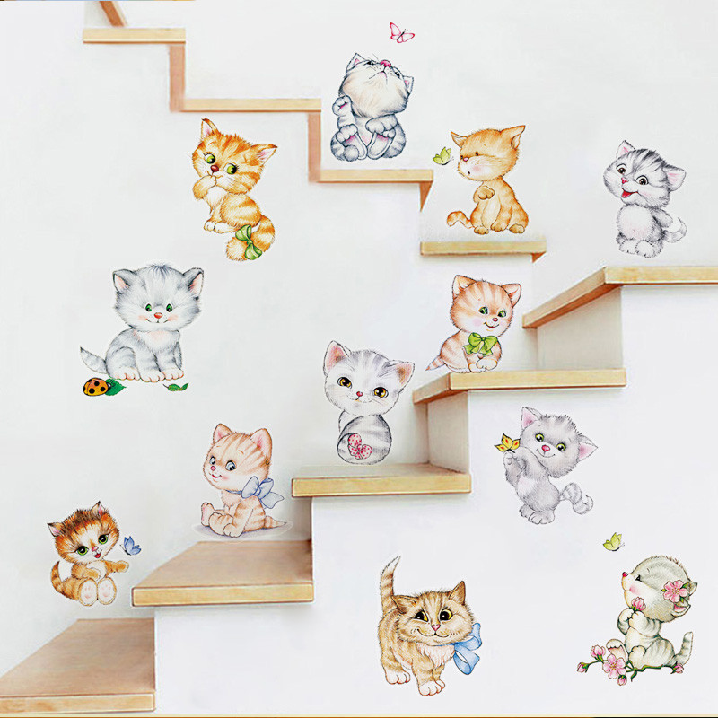 Cat Butterfly Tree Branch Wall Stickers Kids Room Home Decoration Wall Decals Xs Cat Children S Bedroom Decor Decals Stickers Vinyl Art Home Decor