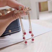 Free Shipping Women Gold Filled Red Coral Design Hand Woven Annular Pearl Drop Earrings for Girls Fashion Gift
