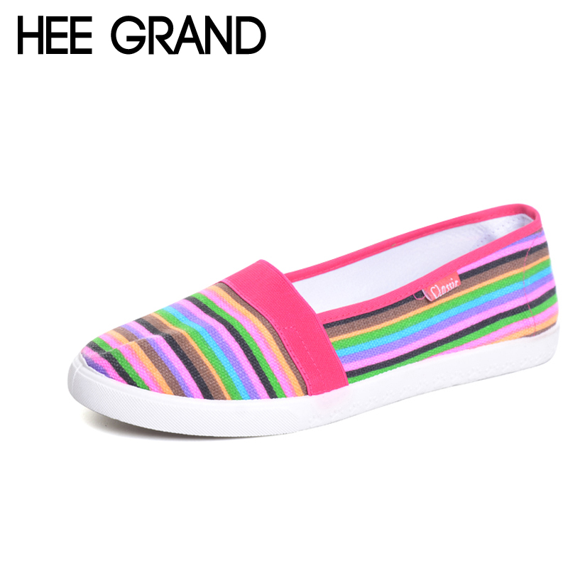 HEE GRAND Spring Women Loafers Soft Rainbow Stripe Slip On Flats For 2017 Summer Style Canvas Shoes Woman Plus Size 35-41 XWC423 spring women loafers soft slip on ballet flats for 2017 summer style stripe canvas shoes woman plus size 35 40