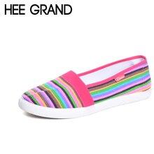 Hee Grand весна женские лоферы мягкие в радужную полоску слипоны на плоской подошве Летний стиль 2017 г. парусиновая обувь женская обувь, Большие размеры 35-41 XWC423