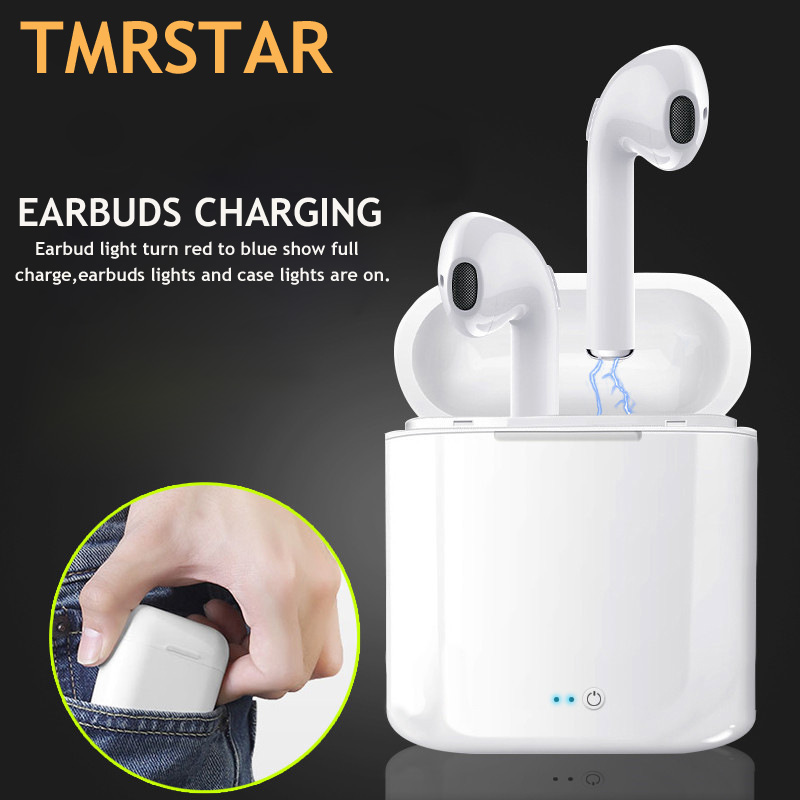 i7 i7s TWS Bluetooth Earphone TWS Airpods Wireless Headset Stereo Headphones Sport Earbud Earphone With Mic For Iphone samsung wireless bluetooth headset i7s tws i9 hands free stereo earbud earphone with mic double earpiece for iphone airpod xiaomi phone