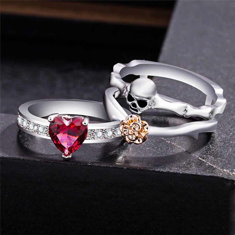 רטרו גותי גולגולת טבעות סט לנשים כסף מצופה לב CZ קריסטל אופנה עלה פרחי תכשיטי פאנק סגנון אהבה מתנה טבעת D3