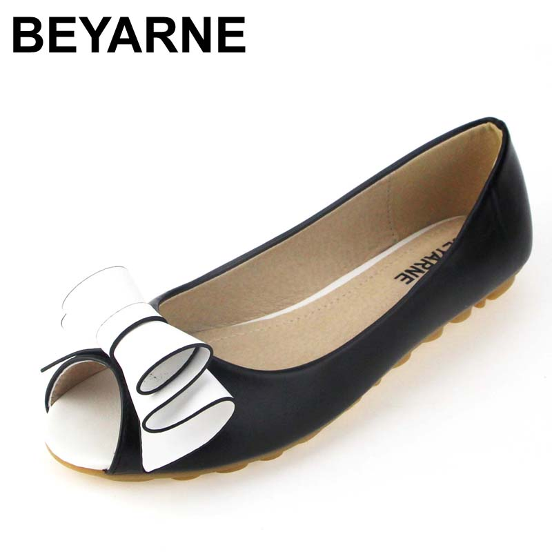 BEYARNE new fahion shoes woman flat open toe women flats Cute Bow soft soles Casual shoe for girls 34-43 vintage embroidery women flats chinese floral canvas embroidered shoes national old beijing cloth single dance soft flats