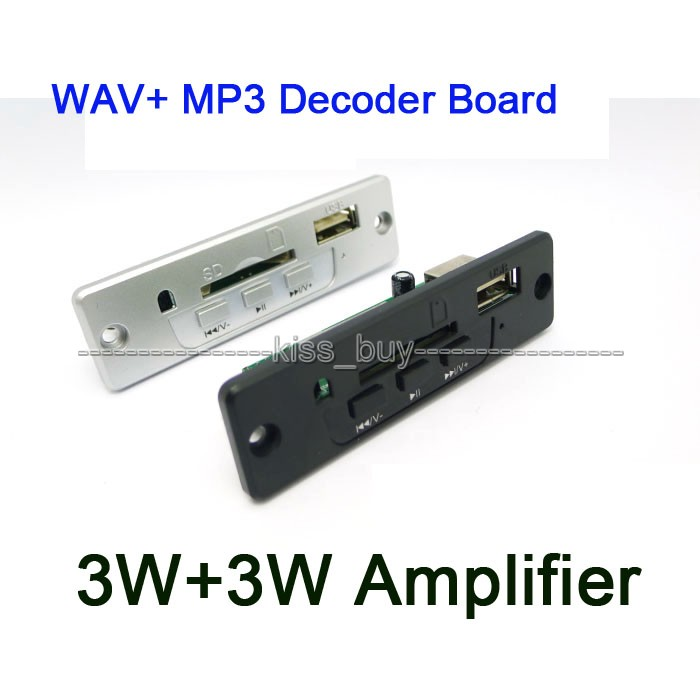 DC 3.7V-5V Lossless Stereo 3W*2 Amplifier WAV+ MP3 Decoder Board USB SD/MMC Card
