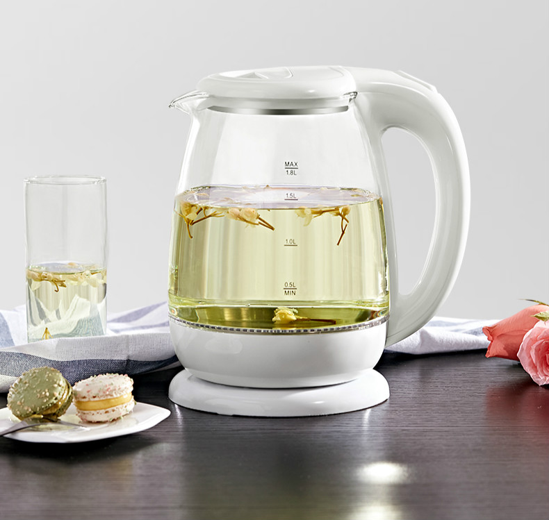 Glass electric kettle household dormitory automatic power cut transparent boiled water bubble tea small new blue light