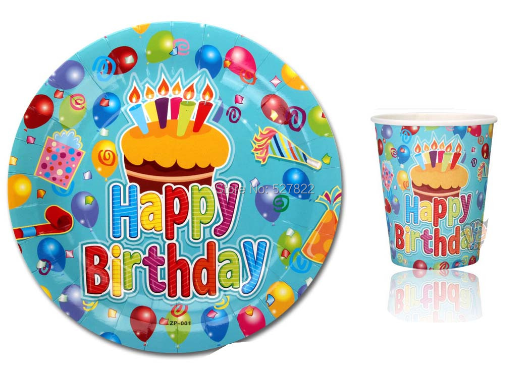 100PCS(50 cups +50 plates) Bule Happy Birthday Disposable Paper Plates and Cups ...  sc 1 st  AliExpress.com & Aliexpress.com : Buy 100PCS(50 cups +50 plates) Bule \