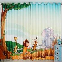 Personal Tailor 2pcs 150x180cm Drapery Panel Window Dressing Drape Curtain Nursery Kid Room Elephant Giraffe Lion