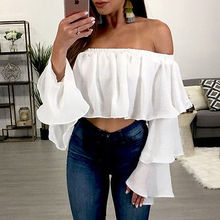Hirigin Women's Off Shoulder Tops Long Sleeve Butterfly Sleeve Slash Neck Black and White Shirt Casual Blouse Loose