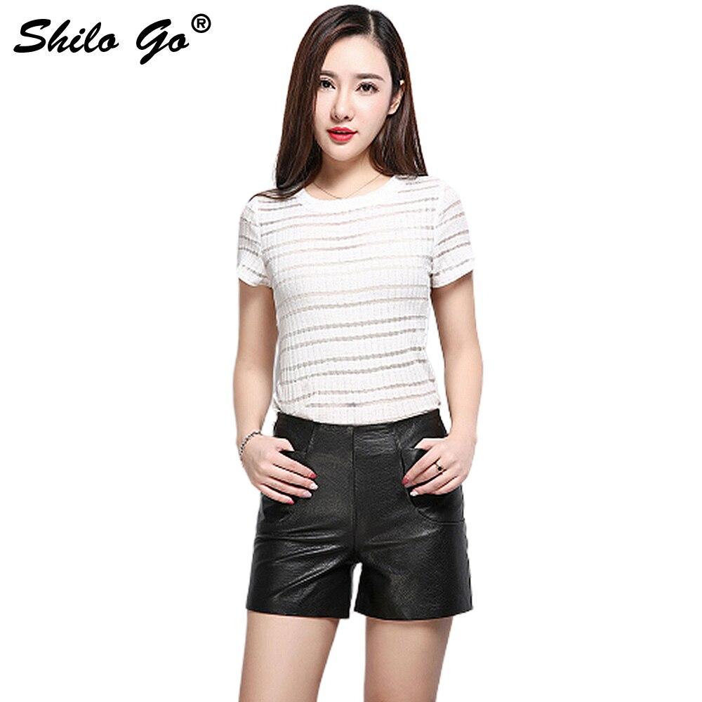 Leather Shorts Womens Autumn Fashion Sheepskin Genuine Leather Shorts Concise Wide Leg Black Zipper Shorts