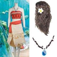 Film Prinzessin Moana Perücke Kostüm für Kinder Maui Prinzessin Cosplay Kostüm Kinder Weihnachten Kostüme Partei Erwachsene Kleid