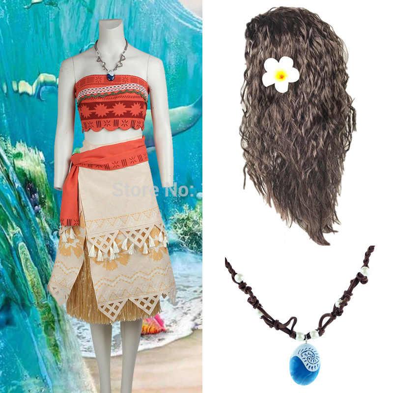 Filme princesa moana peruca traje para crianças maui princesa cosplay traje crianças trajes de natal festa vestido adulto