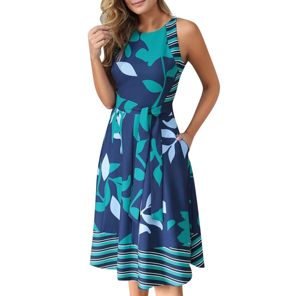 Dresses Women Summer 2019 Plus Size O Neck Sleeveless Boho Print Sashes A Line Dress Casual Ladies Beach Sundress Robe Vestido#B