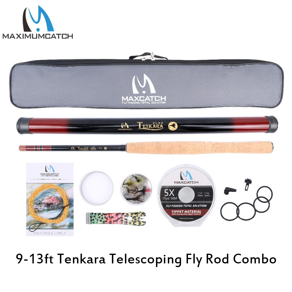 Maximumcatch 9 13ft Tenkara Telescoping Fly Fishing Rod Tenkara Lines Tippet Flies Line nipper Hook Keepers