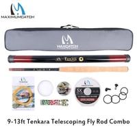 Maximumcatch 9 13ft Tenkara Telescoping Fly Fishing Rod&Tenkara Lines&Tippet&Flies&Line nipper&Hook Keepers