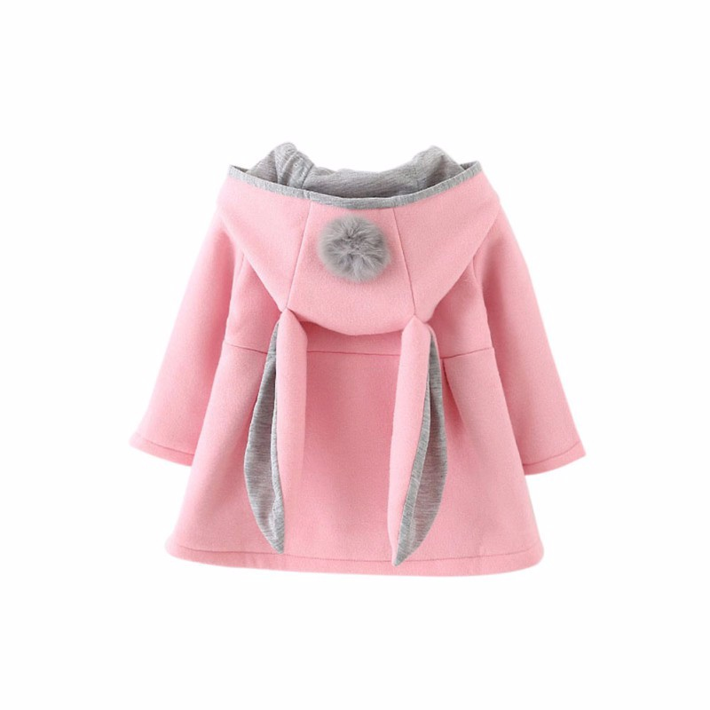 Baby Girls Cute Rabbit Ear Hooded Autumn Winter Coat With Ball Fashion Infants Princess Jacket Outwear Clothes Children Coats alilo g6 cute rabbit style children s english song